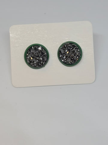 D111 - Gun Metal, Green Setting - 10mm Druzy Earring