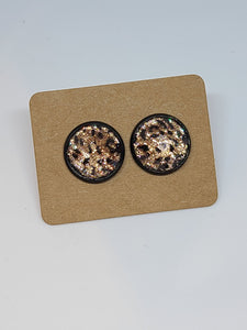 Leopard Black Setting - 12mm druzy earrings