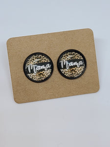Leopard Mama, Black Setting- 12mm druzy earrings