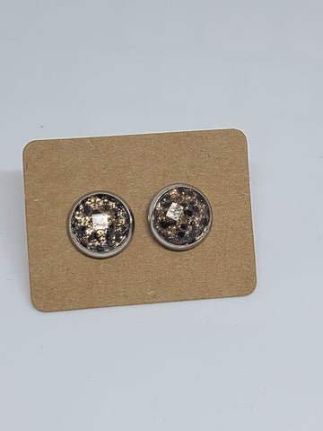 Leopard Silver Setting - 10mm Druzy Earring