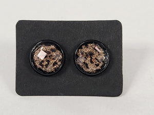 D101 - Leopard Black Setting - 10mm Druzy Earring