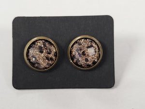 D100 - Leopard Bronze Setting - 10mm Druzy Earring
