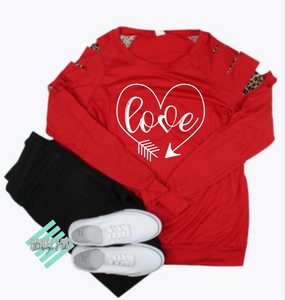 Love Heart Red Peek A Boo Long Sleeve T-Shirt