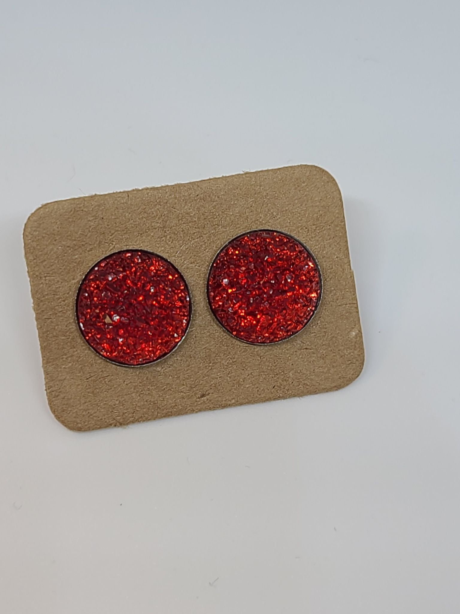 Red Glitter, Silver Setting- 12mm druzy earrings