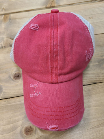 Distressed Pony Tail Hat - Vintage Red