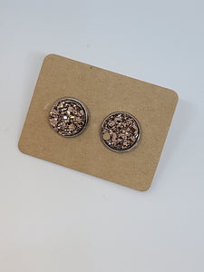 D114 - Rose Gold, Silver Setting - 10mm Druzy Earring