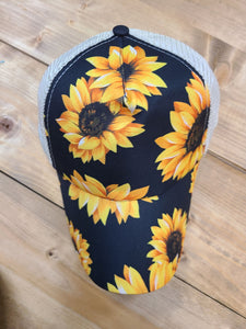 Distressed Pony Tail Hat - Sunflower
