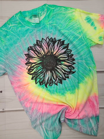 Sunflower Tie Dye Graphic T Shirt - Color Tone Unisex - READY TO SHIP!