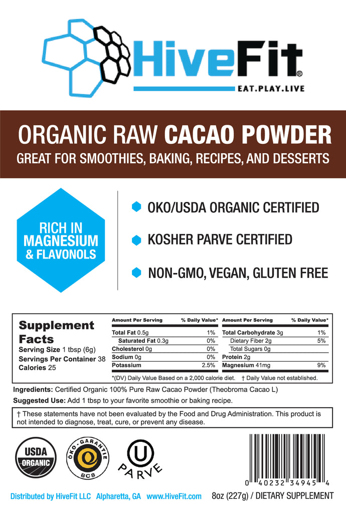 Organic Raw Cacao Powder (Theobroma cacao) - 8oz