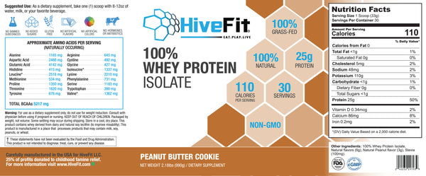 HiveFit Peanut Butter Cookie 100% Whey Protein Isolate (2.18lbs) - 30 servings