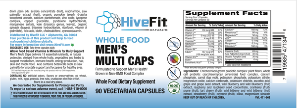HiveFit Men's Whole Food Based Multivitamins - 90ct