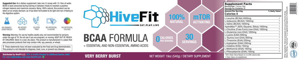 HiveFit BCAA Formula - Very Berry Blast (1.3lbs) - 30 servings