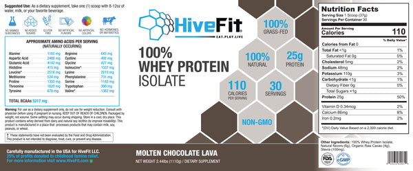 HiveFit Molten Chocolate Lava 100% Whey Protein Isolate (2.44lbs) - 30 servings