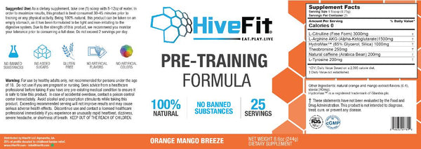 HiveFit Pre-Training Formula - Orange Mango Breeze (0.54lbs) - 25 servings
