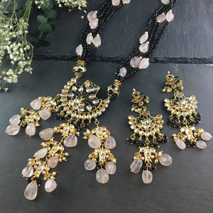 OP71 PINK AND BLACK BALI PENDANT SET WITH EARRINGS