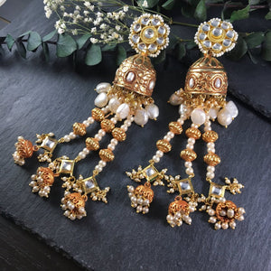 OP83E LONG GOLD-PLATED JHUMKI EARRINGS WITH PEARLS