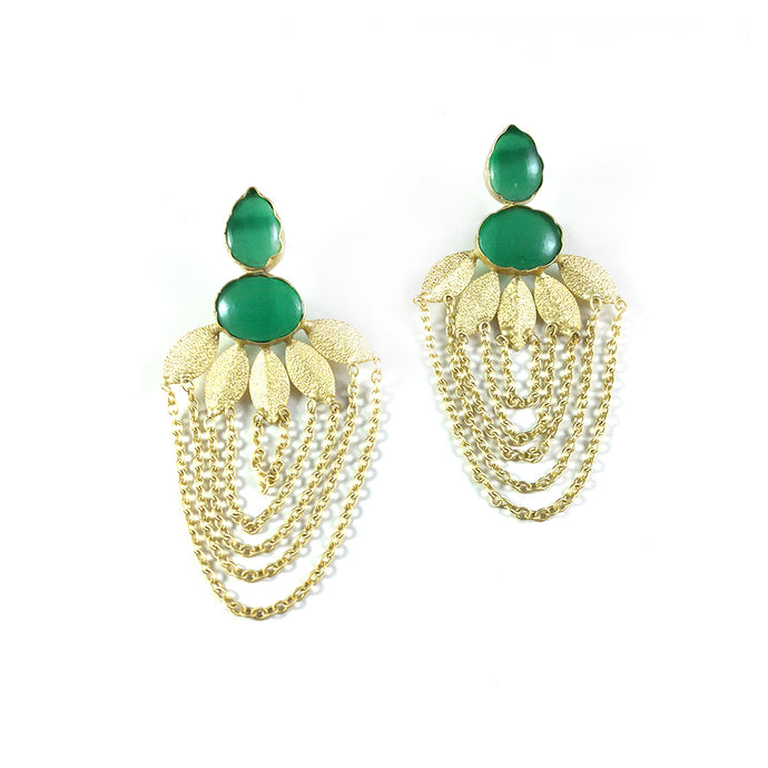 RS32E GREEN AND GOLD LEAF EARRINGS