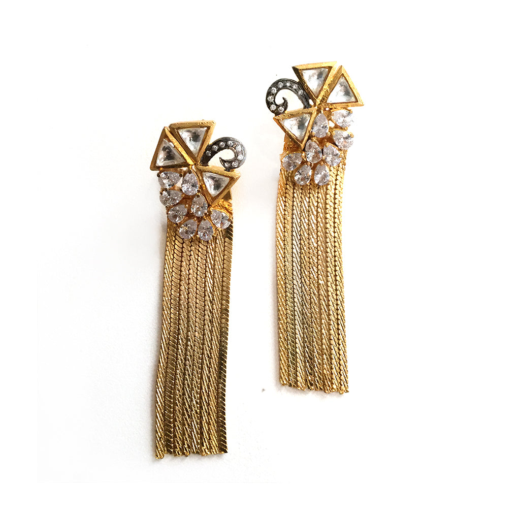 RS34E GOLD TYRA TASSEL EARRINGS WITH CZ ACCENTS