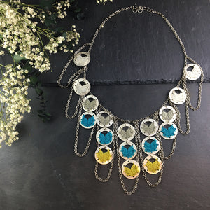 SE149 TURQUOISE AND CITRON SILVER NECKLACE