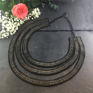 SE43 THREE RING SILVER BEAD AND BLACK FABRIC NECKLACE
