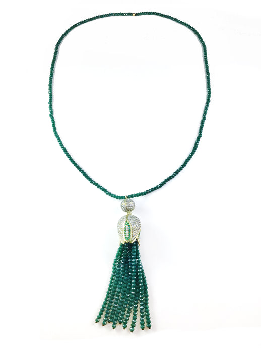 SG1377 GREEN AND GOLD BLOSSOM TASSEL NECKLACE