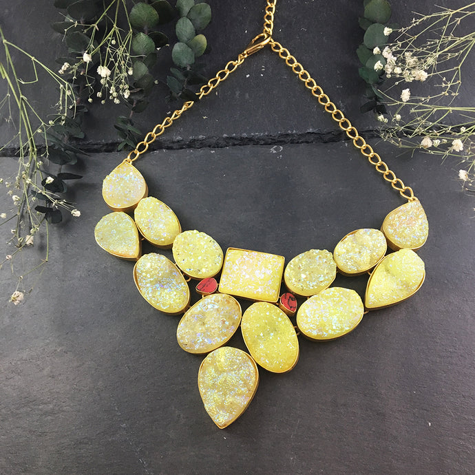 SG1591 CITRON RAW CRYSTAL STONE NECKLACE