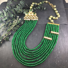 SG1878 GREEN WATERFALL LAYERED NECKLACE WITH KUNDAN