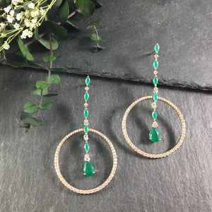 SG1937E ROSE GOLD, CZ CRYSTALS, AND EMERALD AGATE DANGLING EARRINGS
