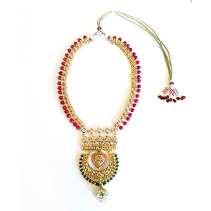 TD426 LEGACY KUNDAN NECKLACE WITH HANGING BALI PENDANT