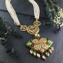 TD556 LEGACY TINY PEARLS WITH MEENA AND KUNDAN PENDANT
