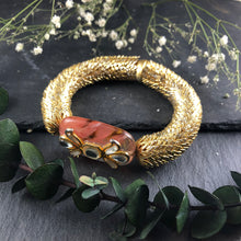 TD593 GOLD MESH AND CORAL KUNDAN STONE BRACELET