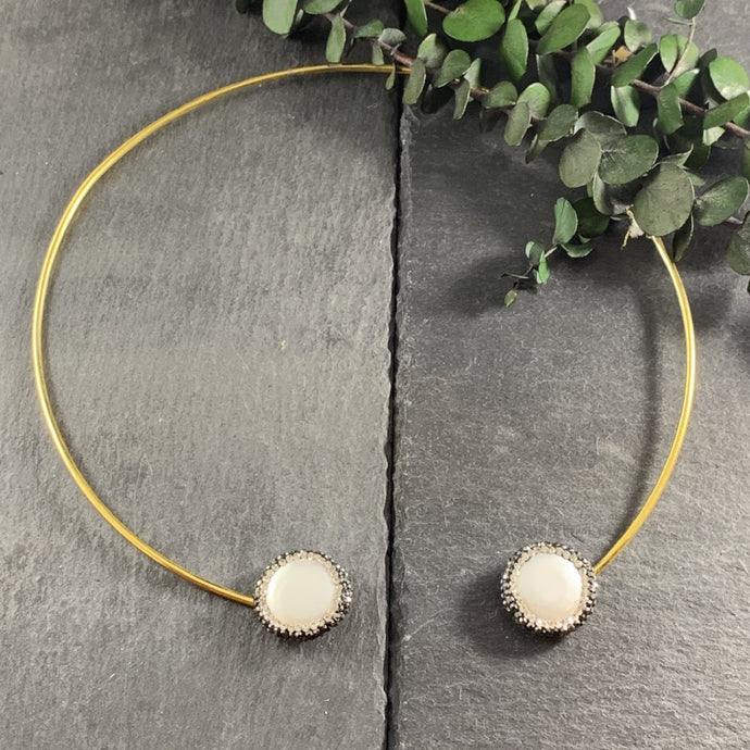 PP563 Gold Tube Druzy Stone Collar Necklace