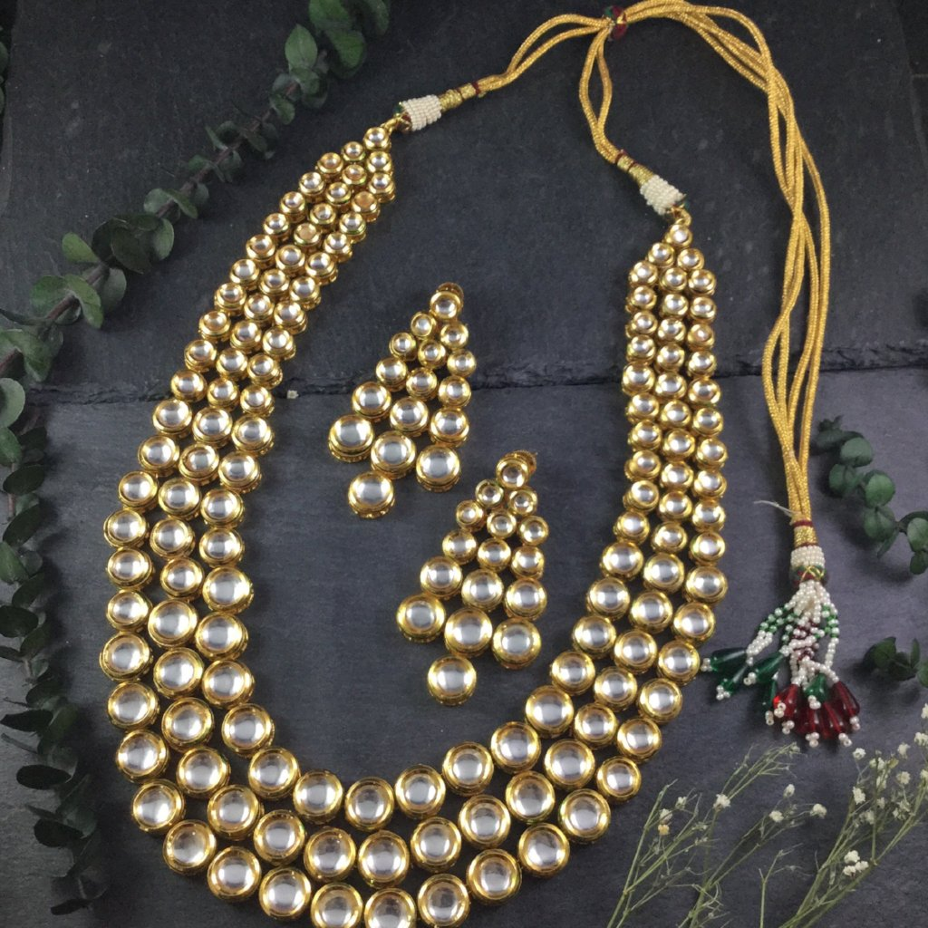 PP2553 LEGACY THREE LINE KUNDAN NECKLACE WITH EARRINGS