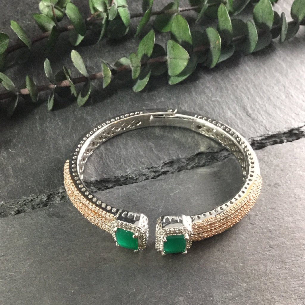 RS186CB Hinged Emerald and Crystal Bracelet