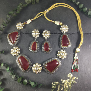 SG2138 GLAMOUR RED STONE NECKLACE AND EARRINGS