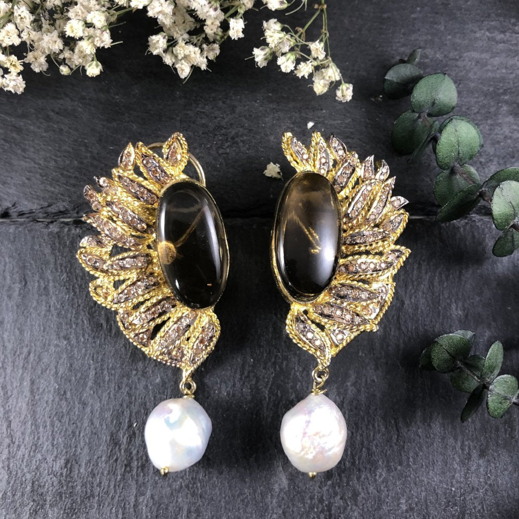 PP2248E WING AND PEARL EARRINGS