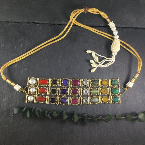 NS29 MULTI GEMSTONE THREE-TIER CHOKER