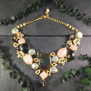 TD961 MULTI STONE GOLD COLLAR NECKLACE
