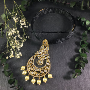 SG2133 BLACK COLLAR NECKLACE WITH GOLD BALI PENDANT