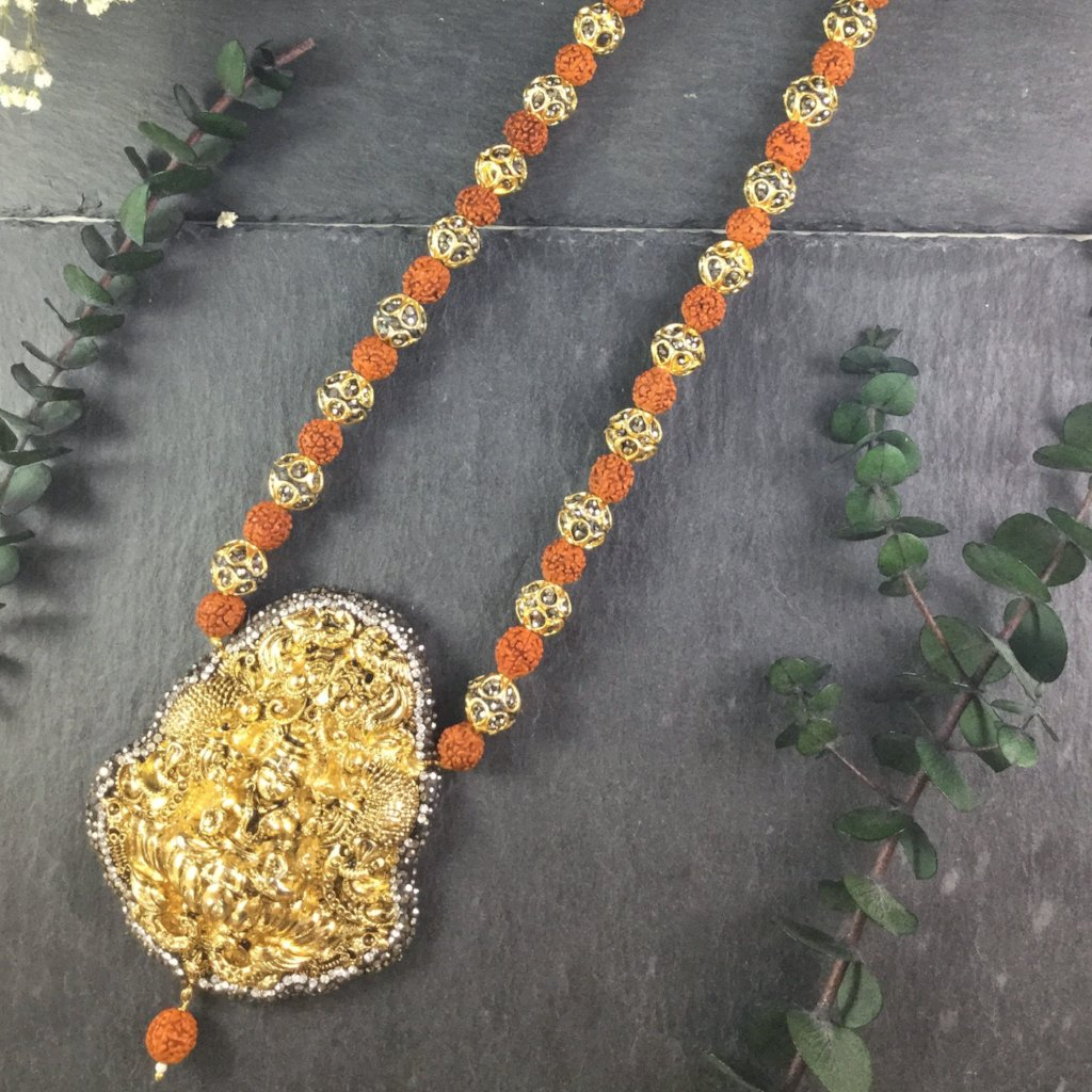 SG1601 RED AND GOLD TEMPLE NECKLACE