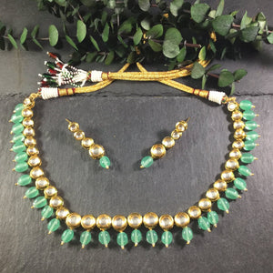 PP2856 SINGLE LINE KUNDAN NECKLACE SET WITH LIGHT GREEN STONES