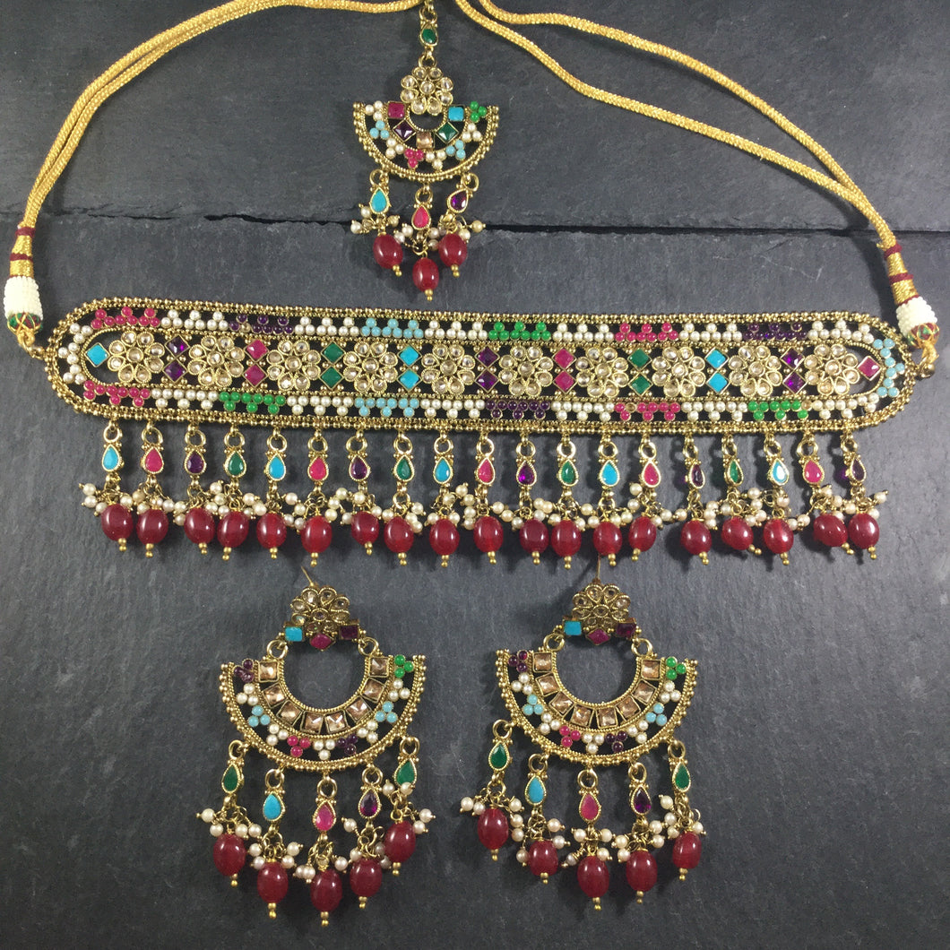 PP3961 LEGACY CHANTELLE MULTI SQUARE SONAL CHOKER SET WITH TIKKA AND EARRINGS