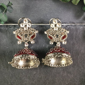 SG1977E RUBY ENAMEL JHUMKI EARRINGS