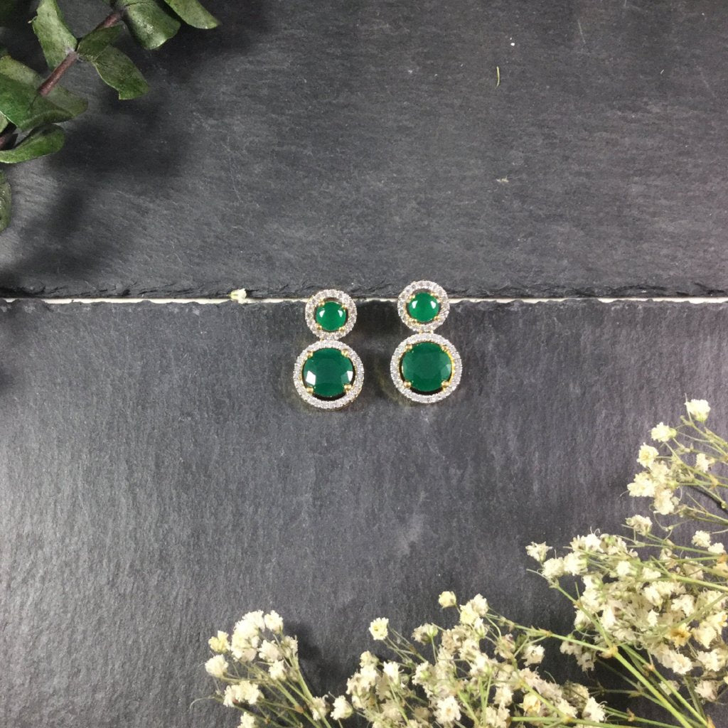 PP2536BE TWO CIRCLE EMERALD EARRINGS