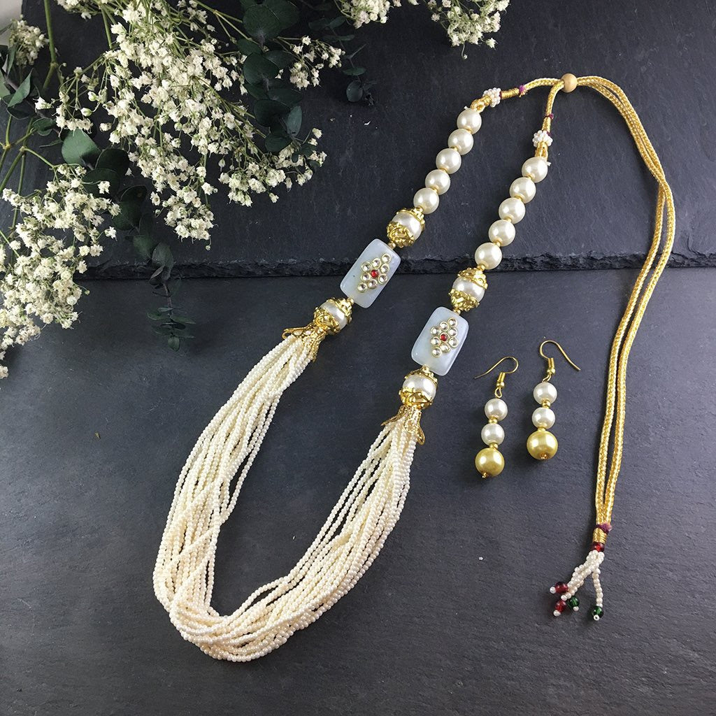 PP2362F IVORY KUNDUN AND BEAD NECKLACE SET
