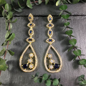 PP2913AE BLUE VICTORIAN TEARDROP EARRINGS