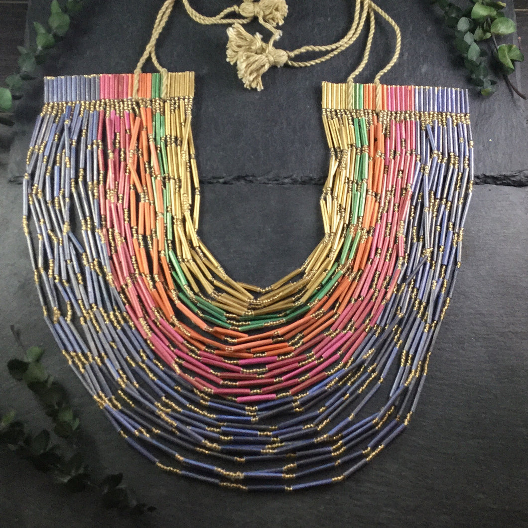 PJ342 RAINBOW AFRO 32 STRAND NECKLACE