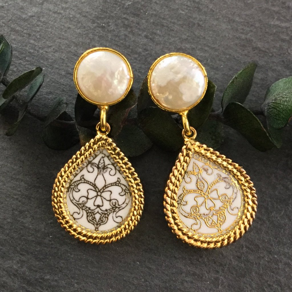 PP2797E WHITE MEENA AND PEARL EARRINGS