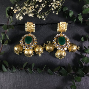 SG2117 EARRING GREEN 3 JHUMKA