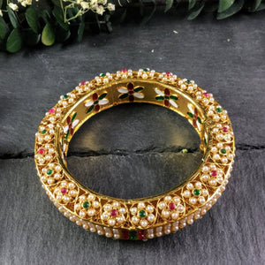 PP2491AB PEARL AND MEENA ENAMELWORK INTRICATE BANGLE BRACELET